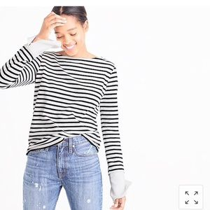 J Crew Striped Boat Neck Tee Built in Cuffs